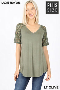 CALLING MY NAME LUXE LACE SHORT SLEEVES PLUS SIZE TUNIC TOP-LIGHT OLIVE - Infinity Raine