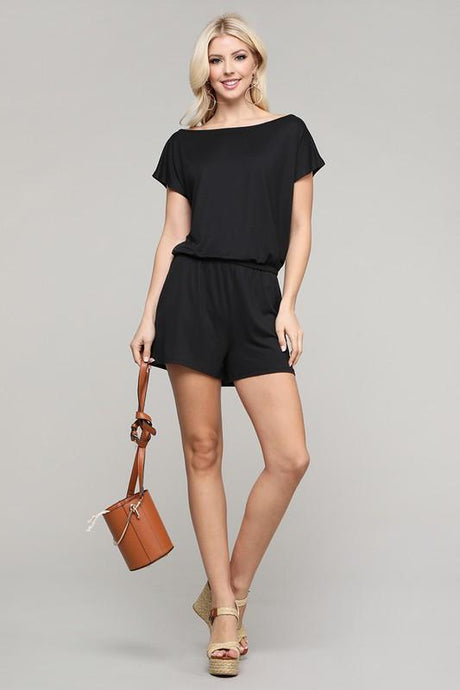SWEPT AWAY KNIT ROMPER-BLACK - Infinity Raine