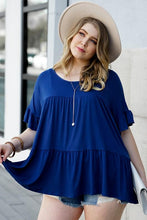 Load image into Gallery viewer, JUST YOU WAIT BABY DOLL PLUS SIZE TOP-NAVY - Infinity Raine