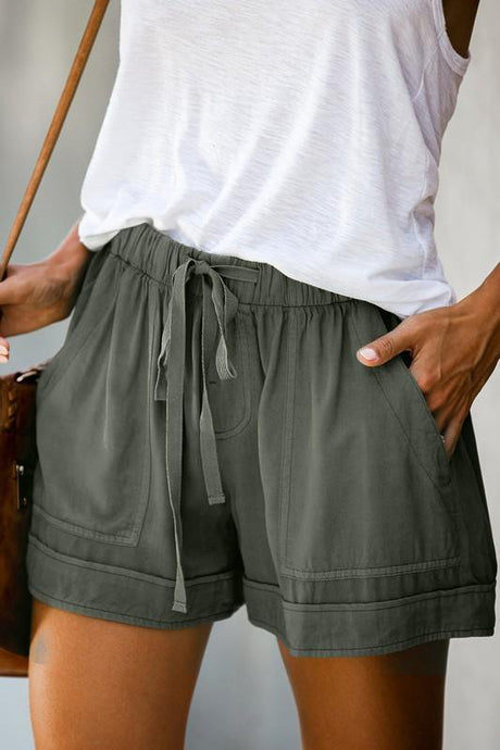 HERE TO RELAX DRAWSTRING SHORTS-GREEN - Infinity Raine