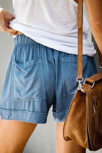 HERE TO RELAX DRAWSTRING SHORTS- BLUE - Infinity Raine