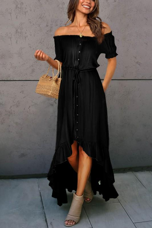 SWEET BOHEMIAN FLARE DRESS-BLACK - Infinity Raine
