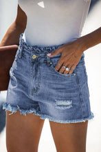 Load image into Gallery viewer, WRAPPED UP IN LOVE PAPER BAG DENIM SHORTS - Infinity Raine