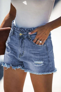 WRAPPED UP IN LOVE PAPER BAG DENIM SHORTS - Infinity Raine