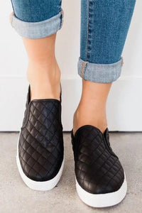 THIS IS IT QUILTED SLIP ON SNEAKERS-BLACK - Infinity Raine