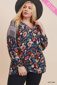 WILD BLOOMER PLUS SIZE TUNIC- NAVY/MULTI - Infinity Raine