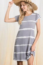 Load image into Gallery viewer, COMFORT IS KEY GRAY TIE DYE FLUTTER SLEEVE DRESS - Infinity Raine