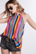 Load image into Gallery viewer, TASTE THE RAINBOW LOW GAUGE HACCI HALTER NECK TUNIC-VIVD MULTI - Infinity Raine