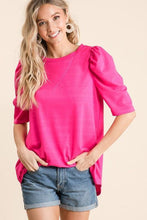 Load image into Gallery viewer, BUSINESS AS USUAL FRENCH TERRY TOP-FUCHSIA - Infinity Raine
