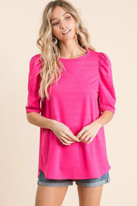 BUSINESS AS USUAL FRENCH TERRY TOP-FUCHSIA - Infinity Raine