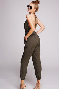 HELLO THERE HALTER OPEN BACK V-NECK JUMPSUIT-OLIVE - Infinity Raine