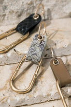 Load image into Gallery viewer, AROUND TOWN FAUX LEATHER METAL DANGLE POST EARRINGS-GREY - Infinity Raine