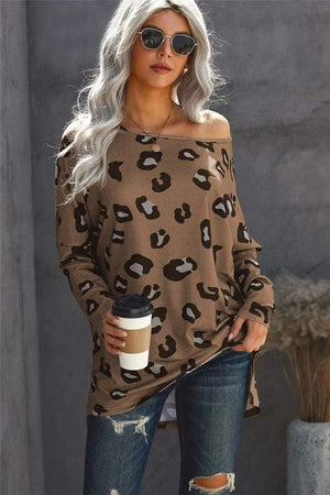 IT ALL WORKS OUT LEOPARD LONG SLEEVE TOP -MOCHA - Infinity Raine