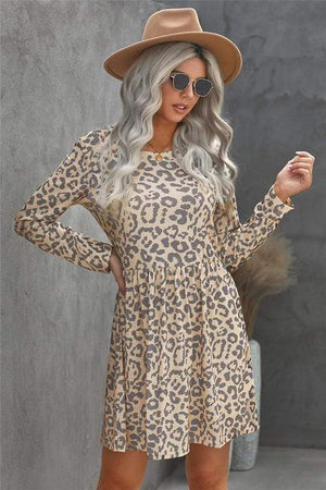 FOND MEMORIES LONG SLEEVE DRESS-LEOPARD - Infinity Raine