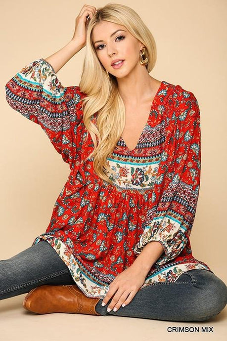 LOST IN THOUGHT TUNIC-RED FLORAL - Infinity Raine