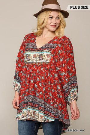 LOST IN THOUGHT PLUS SIZE TUNIC- RED FLORAL - Infinity Raine