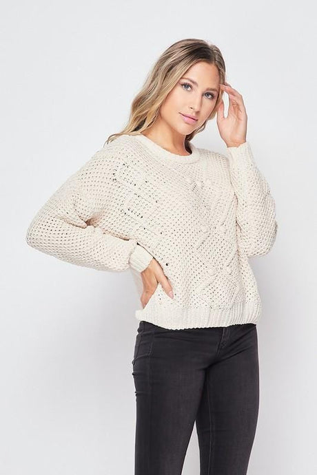 KNOWN FOR THIS POM POM SWEATER- CREAM - Infinity Raine