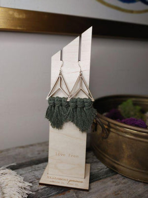 Peace Prism Wooden Earrings-Olive - Infinity Raine