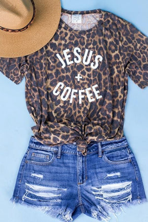 JESUS + COFFEE GRAPHIC TEE-LEOPARD - Infinity Raine