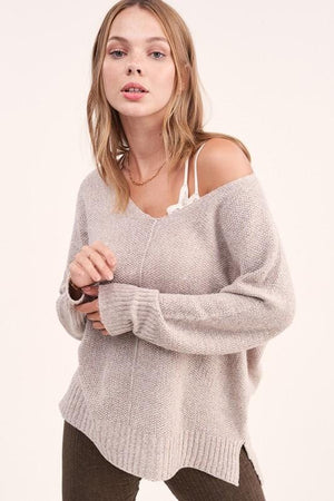 TAKE A BREAK SOFT LUXE SWEATER TOP-TAUPE - Infinity Raine