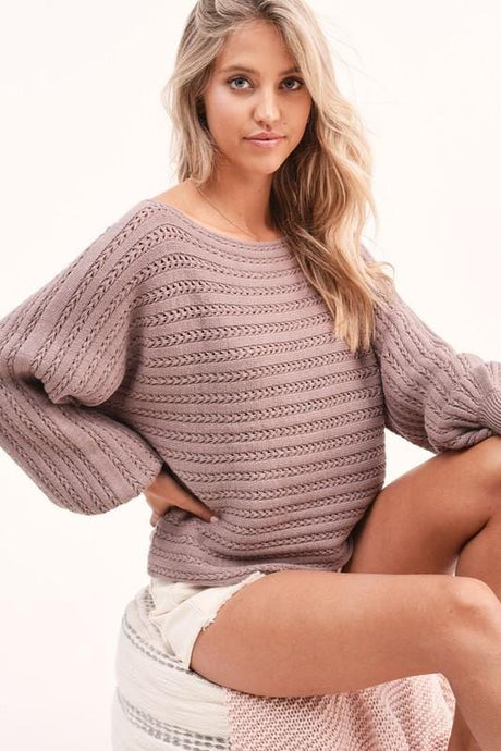 STAY AWHILE BOAT NECK SWEATER-MOCHA - Infinity Raine