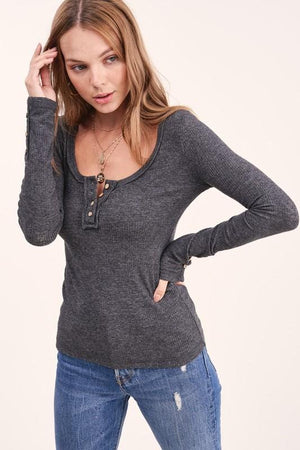 SIMPLE SITUATIONS HENLEY TOP-CHARCOAL - Infinity Raine