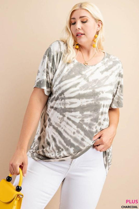 BACK AT IT PLUS SIZE TIE DYE  SHORT SLEEVE TOP-GRAY - Infinity Raine