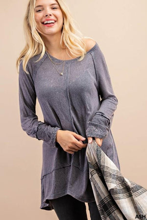 PACE YOURSELF MINERAL WASH LACE CUFF TUNIC-ASH GRAY - Infinity Raine