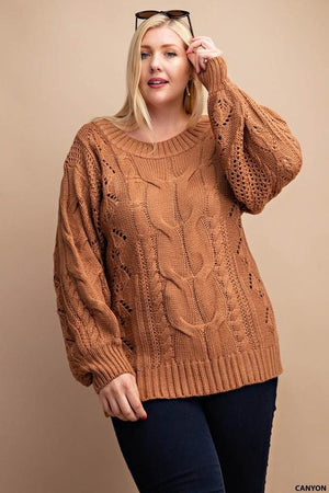 MOUNTAIN TOP VIEW PLUS SIZE CABLE KNIT PUFF SLEEVE SWEATER-CINNAMON - Infinity Raine