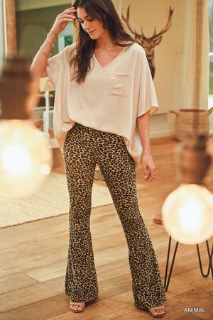 STEPPIN' ON THE WILD SIDE FLARE PANTS-LEOPARD - Infinity Raine