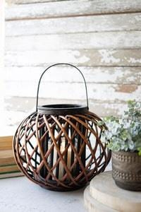 LOW ROUND BROWN WILLOW LANTERN WITH GLASS- LARGE - Infinity Raine