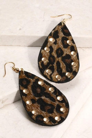 I SPY ANIMAL PRINT TEARDROP EARRINGS-BROWN - Infinity Raine