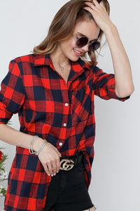 KEEP IT COZY BUTTON DOWN TOP-RED/NAVY PLAID - Infinity Raine