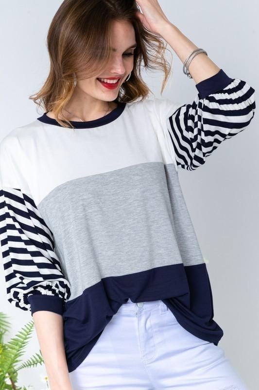 GO THE DISTANCE STRIPED TUNIC TOP-GREY/NAVY/IVORY - Infinity Raine