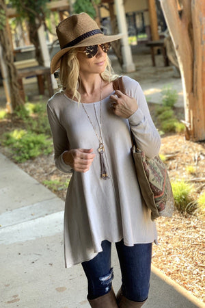 WIND DOWN TUNIC SWEATER-LIGHT GREY - Infinity Raine