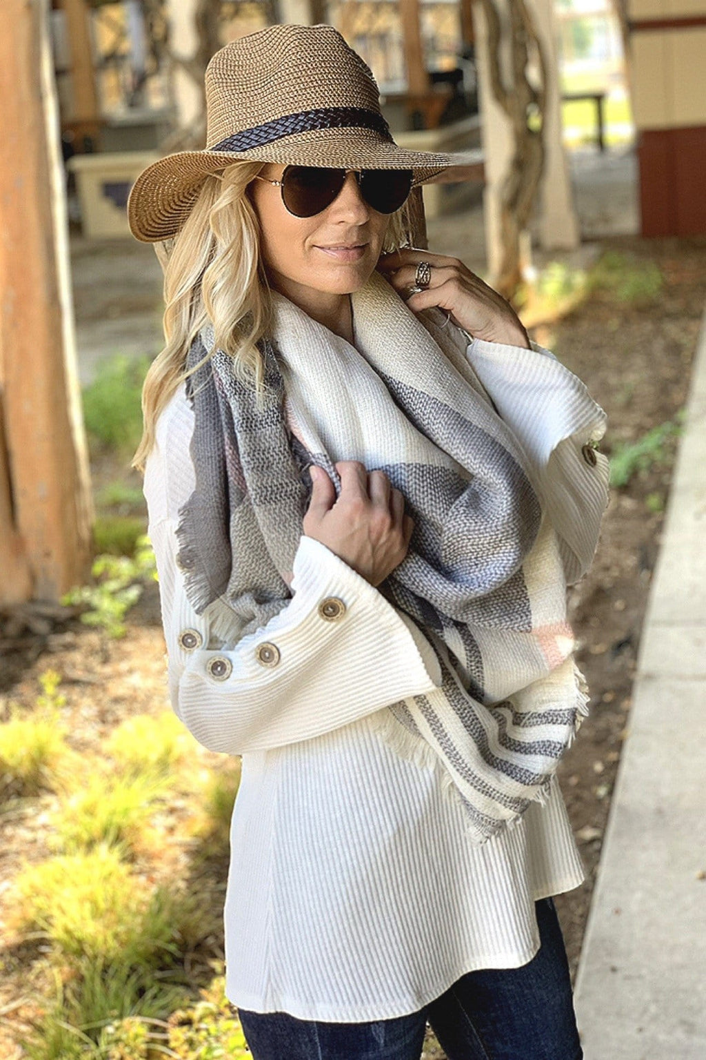 AUTUMN AIR BLANKET SCARF-IVORY/GREY/PINK - Infinity Raine