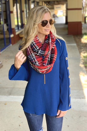 CALL IT FALL PLAID INFINITY SCARF-RED - Infinity Raine