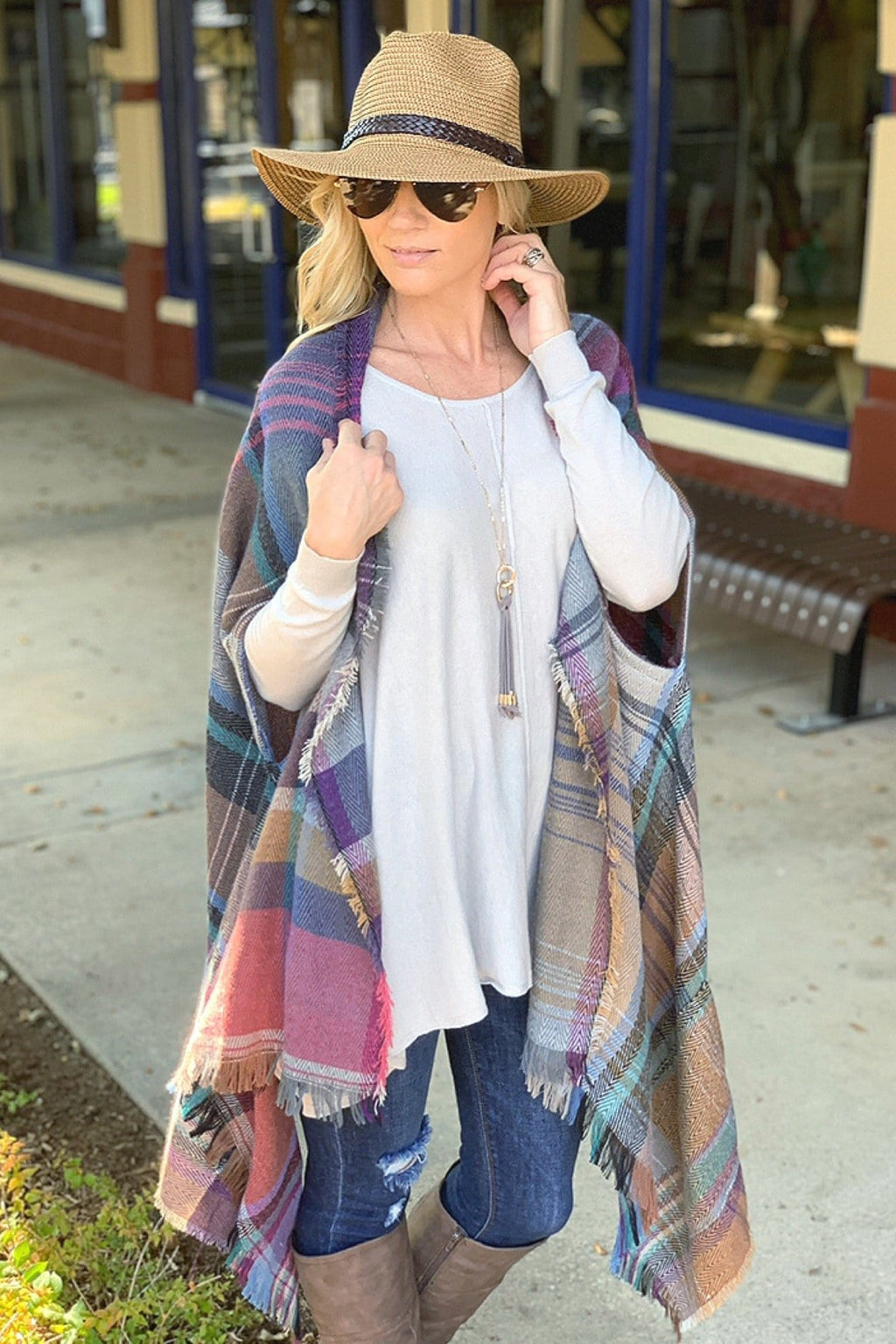 BY THE FIRE LIGHT PLAID PONCHO-MULTI - Infinity Raine