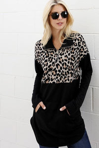 WEEKEND GETAWAY LEOPARD COLOR BLOCK PULLOVER - Infinity Raine