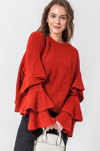 GIVE ME JOY BELL SLEEVE SWEATER-RED - Infinity Raine