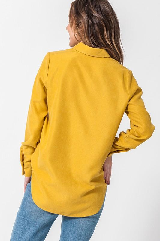 LET'S MAKE PLANS BUTTON UP TOP-MUSTARD - Infinity Raine