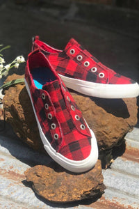 WHERE EVER YOU GO SNEAKERS-RED BUFFALO CHECK - Infinity Raine