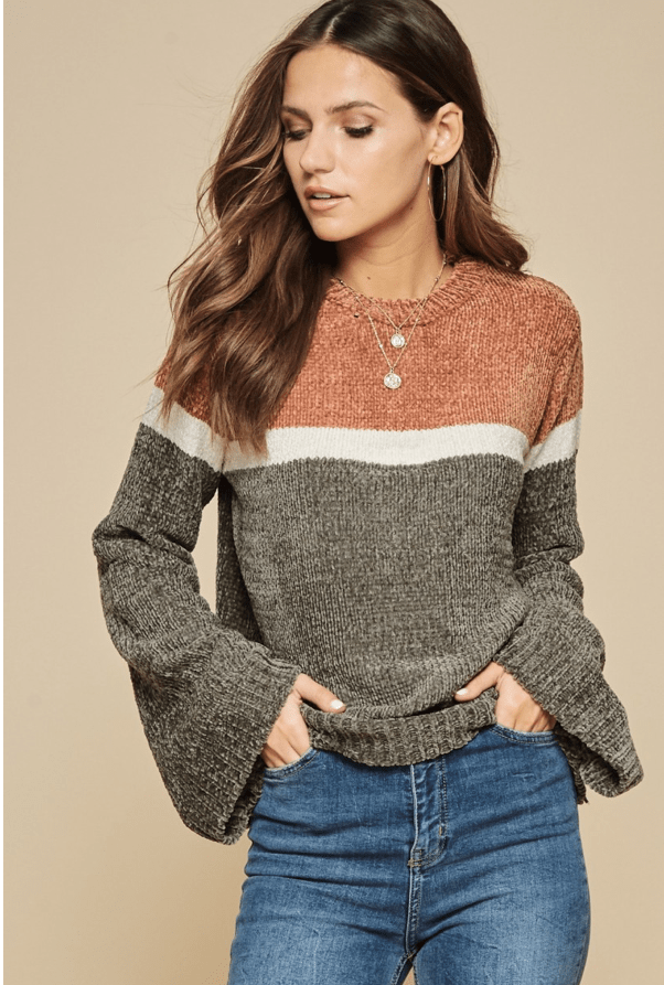 TALK COZY TO ME SWEATER-RUST/OLIVE - Infinity Raine