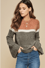 Load image into Gallery viewer, TALK COZY TO ME SWEATER-RUST/OLIVE - Infinity Raine