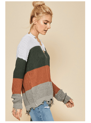 TOO MUCH SPICE SWEATER-GREEN/RUST - Infinity Raine