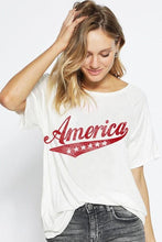 Load image into Gallery viewer, AMERICA LOOSE FIT GRAPHIC RAGLAN TOP-OFF WHITE - Infinity Raine