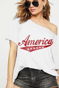 AMERICA LOOSE FIT GRAPHIC RAGLAN TOP-OFF WHITE - Infinity Raine