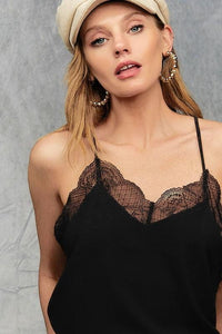 SLIP INTO THIS LACE CAMI SOLID TANK TOP-BLACK - Infinity Raine