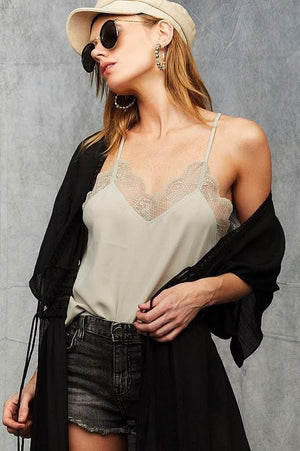 SLIP INTO THIS LACE CAMI SOLID TANK TOP-STONE - Infinity Raine