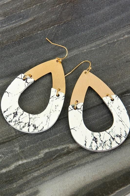 CHIC PERSONAL WHITE MARBLE AND GOLD TEAR DROP EARRING - Infinity Raine
